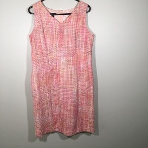 NWT Talbots Pink Tweed Like Sleeveless Dress 14P